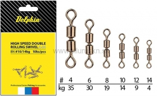 Obratlík DELPHIN Hi speed double rolling swivel A-04 BN/4