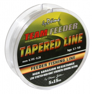 Vlasec by Döme Team Feeder Tapered Leader 5x15m 0,165mm-0,22mm